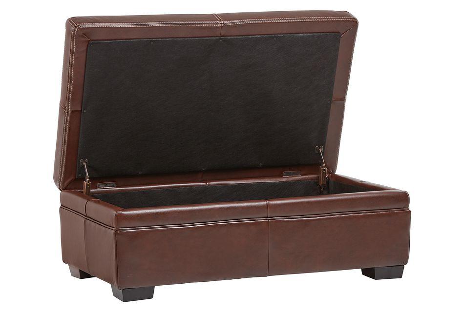 Carson Medium Brown Leather Storage Ottoman