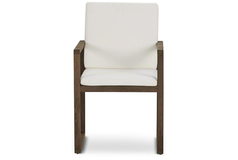 Linear Teak White Arm Chair