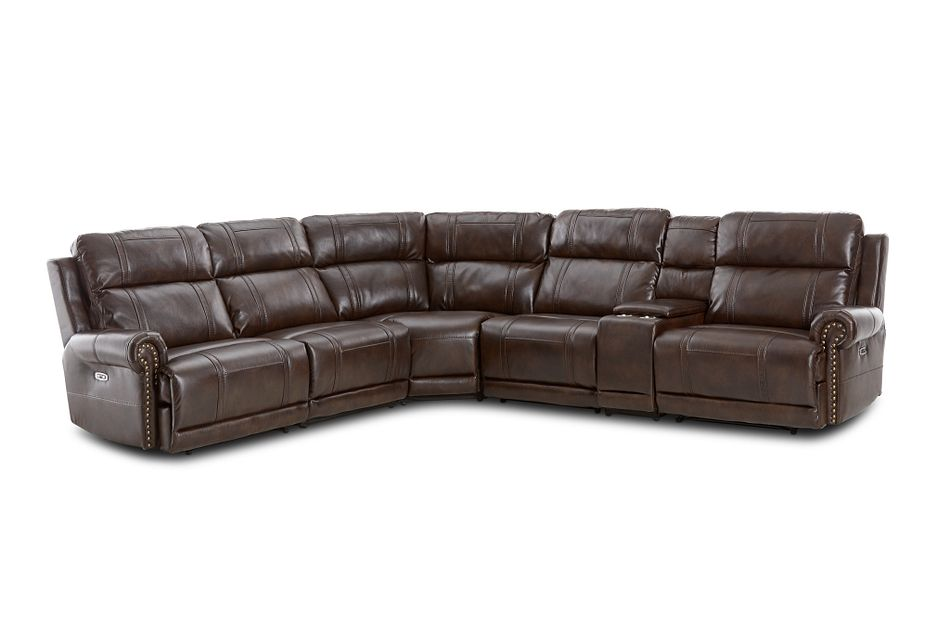 Hunter Dark Brown Micro Medium Dual Power 2-arm Reclining Sectional