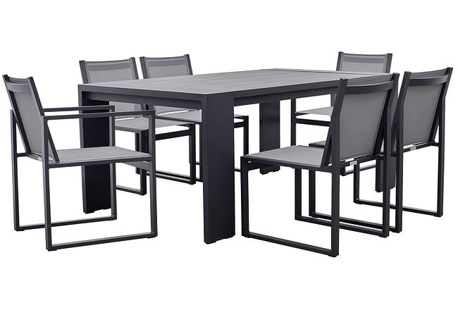 """Linear Dark Gray 70"""" Aluminum Table & 4 Sling Side Chairs"""
