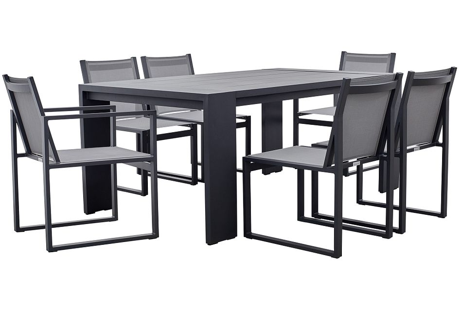 "Linear Dark Gray 70"" Aluminum Table & 4 Sling Side Chairs"