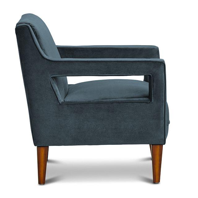 Dawson Dark Blue Velvet Accent Chair (1)