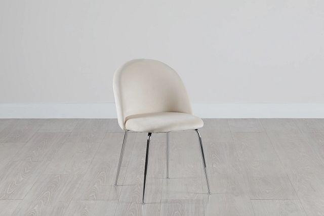 Capri Ivory Upholstered Side Chair W/ Chrome Legs