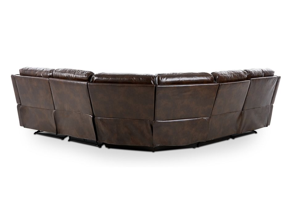 Hunter Dark Brown Micro Small Two-arm Manually Reclining Sectional