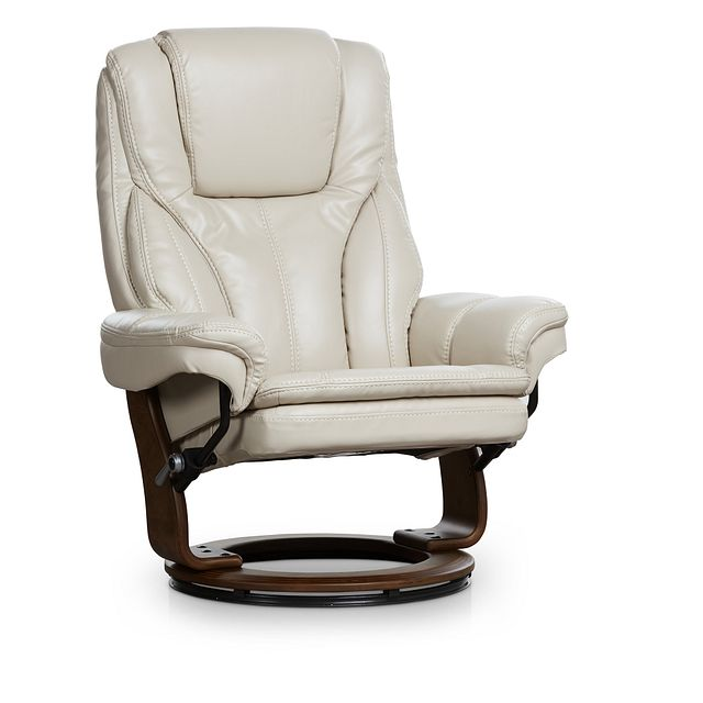 Perkins Taupe Micro Recliner & Ottoman (2)