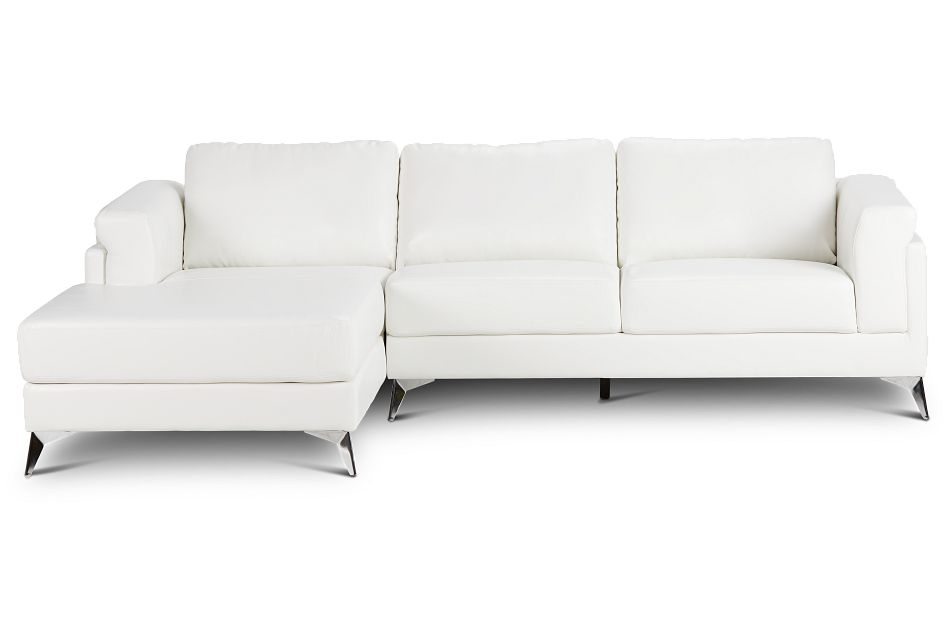 Gianna White Micro Left Chaise Sectional, %%bed_Size%% (3)