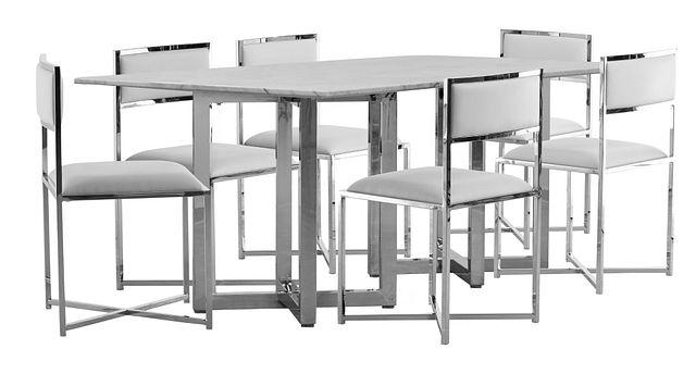 Amalfi White Marble Rectangular Table & 4 Metal Chairs (0)