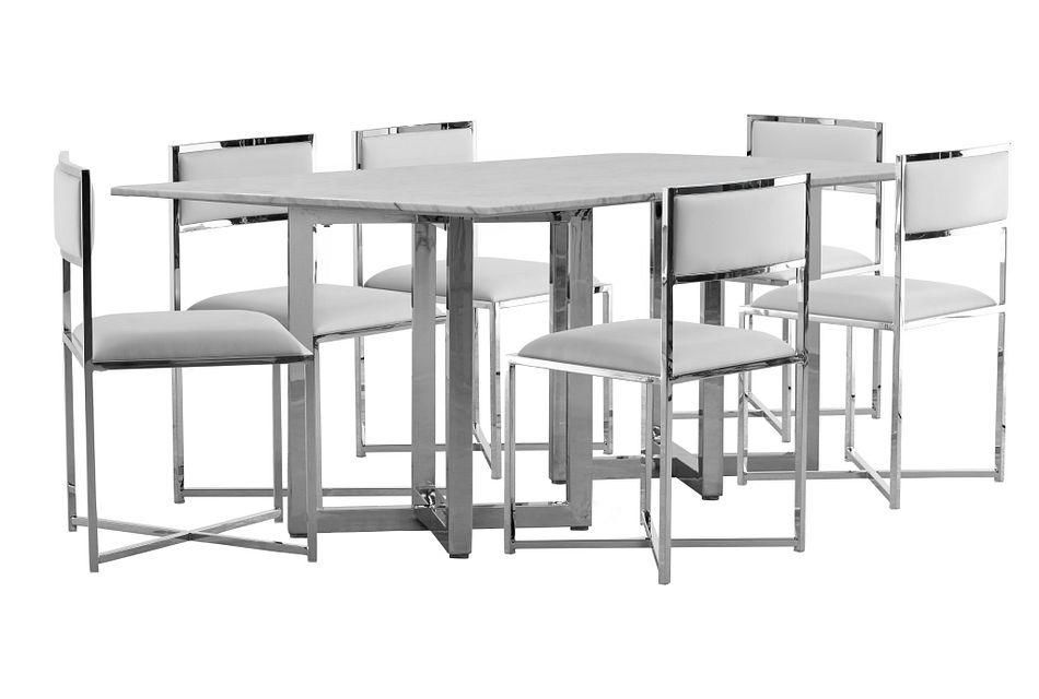Amalfi White Marble Rectangular Table & 4 Metal Chairs