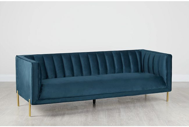Bella Dark Blue Velvet Sofa