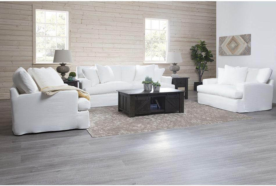 Delilah White Fabric Living Room