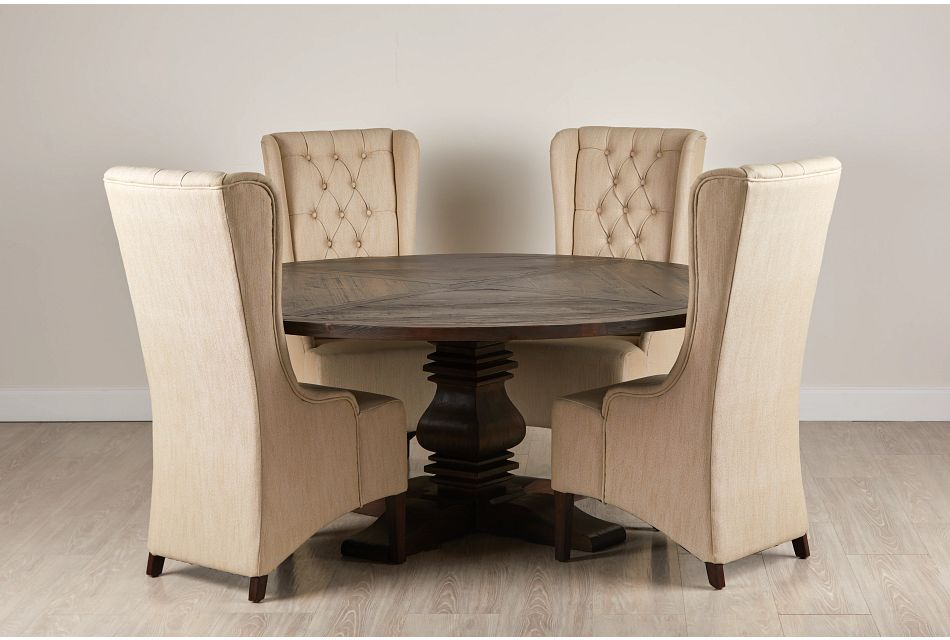"""Hadlow Mid Tone 72"""" Round Table & 4 Upholstered Chairs"""