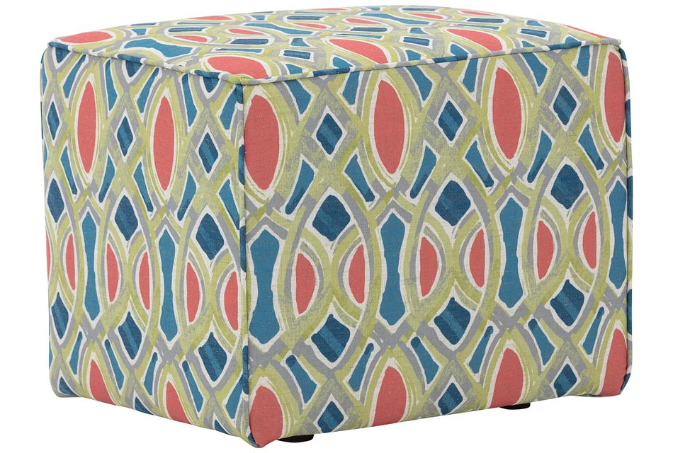 Whiplash Coral Fabric Accent Pouf