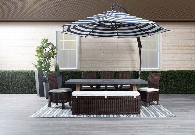 Cayman Dark Blue Stripe Cantilever Umbrella Set (0)