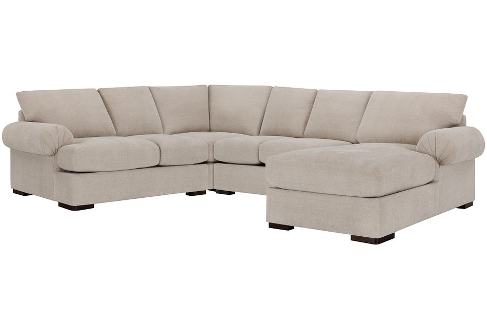 Belair Light Taupe Fabric Medium Right Chaise Sectional