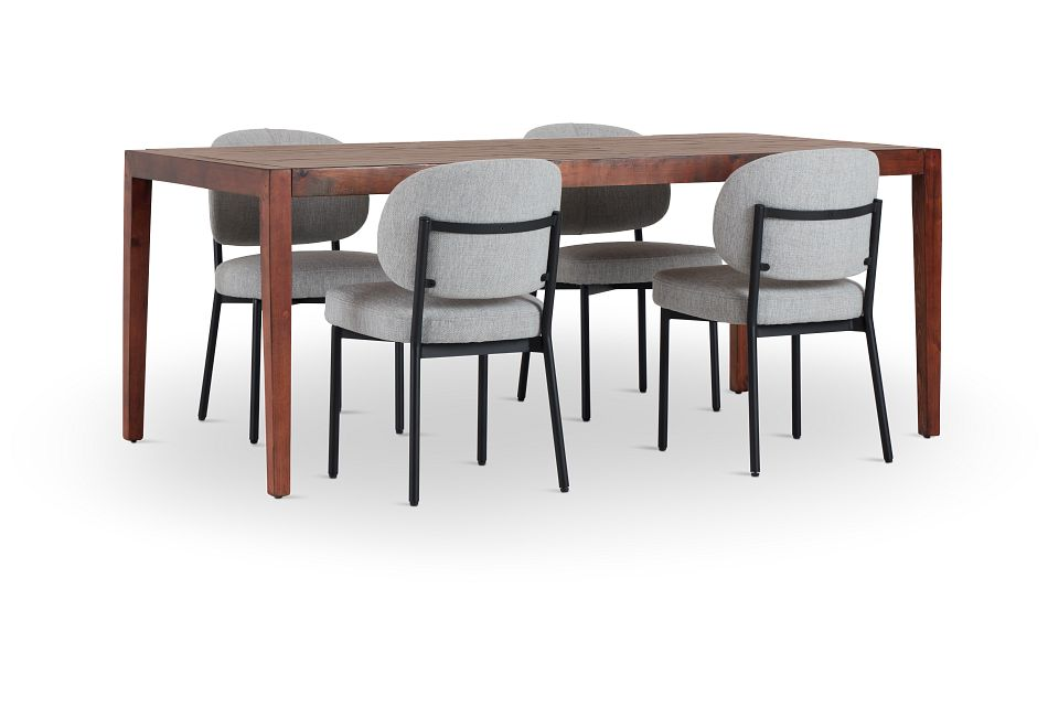 Chicago Dark Tone Rect Table & 4 Light Gray Upolstered Chairs,  (1)