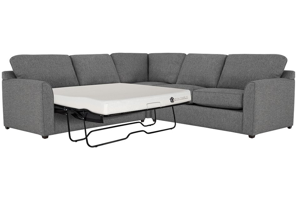 Asheville Gray Fabric Two-arm Left Memory Foam Sleeper Sectional