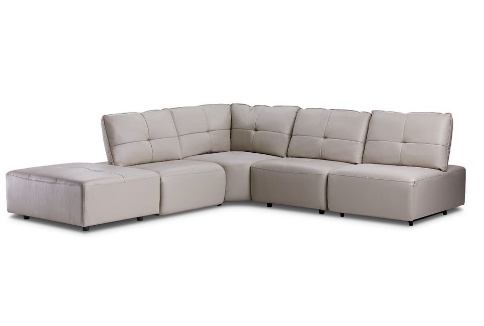 Trice Taupe Lthr/vinyl Small Bumper Sectional
