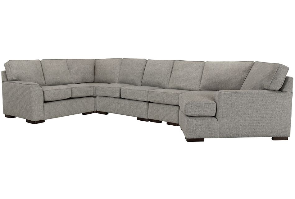 Austin Gray Fabric Large Right Cuddler Sectional