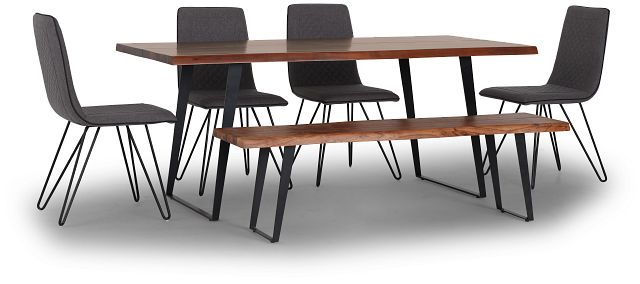 Shiloh Mid Tone Rect Table, 4 Chairs & Bench (2)