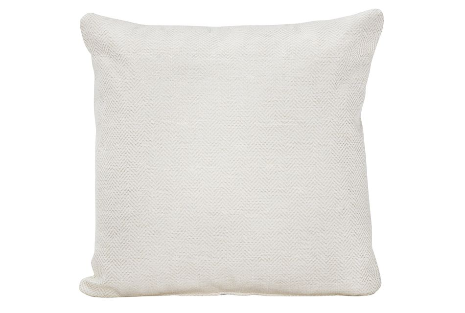 Avery White Fabric Square Accent Pillow