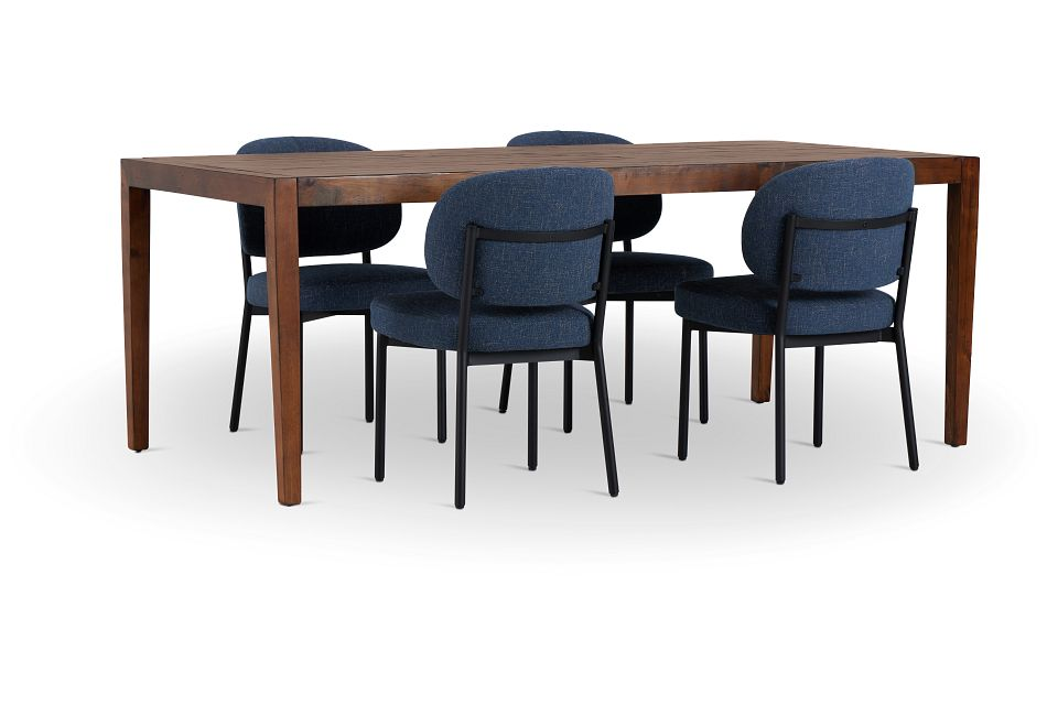 Chicago Dark Tone Rect Table & 4 Dark Blue Upholstered Chairs,  (1)