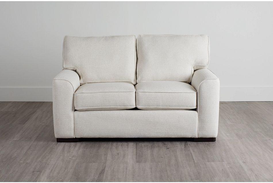 Austin White Fabric Loveseat