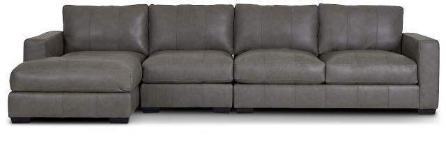 Dawkins Gray Leather Small Left Chaise Sectional (2)
