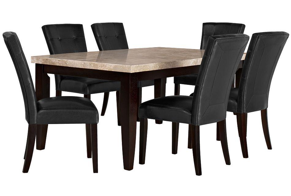Monark Rectangular  MARBLE Table & 4 Upholstered Chairs