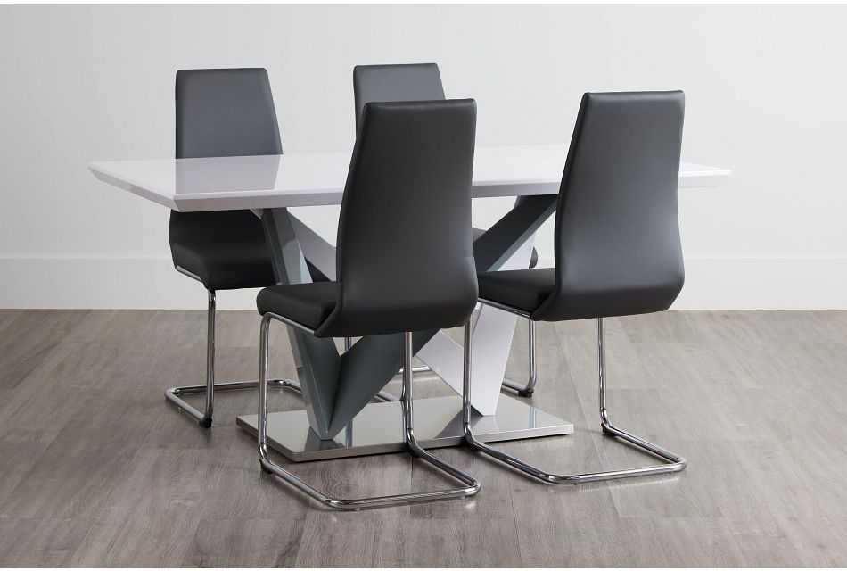 Lennox Gray Rect Table & 4 Upholstered Chairs