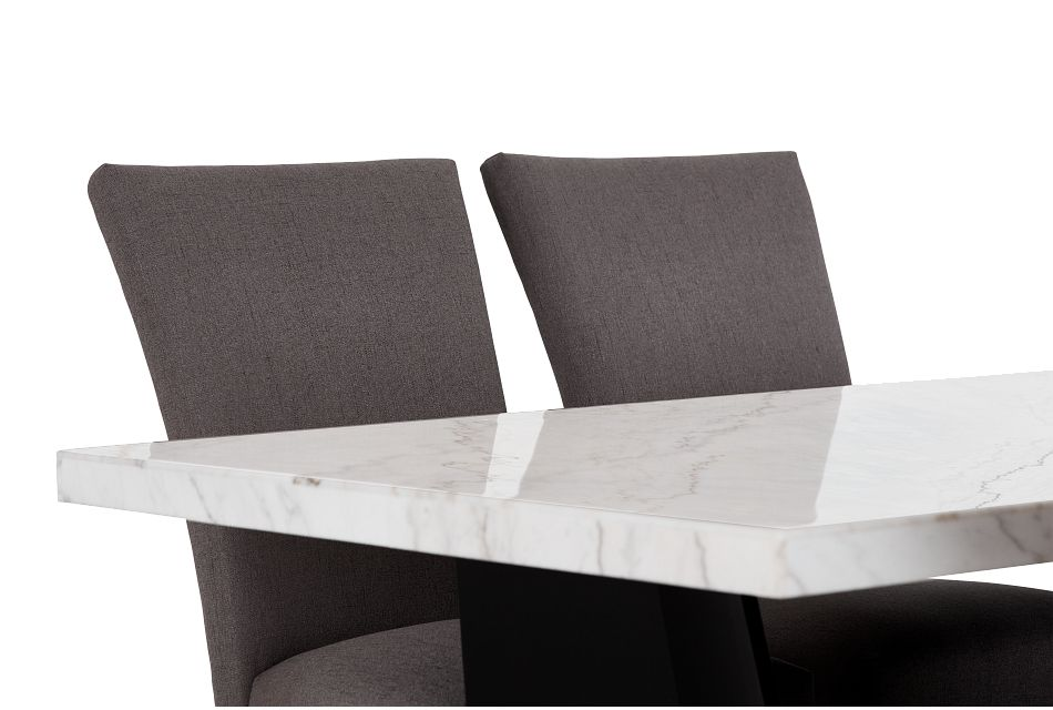 Auburn White Rect Table & 4 Dark Gray Upholstered Chairs, %%bed_Size%% (2)