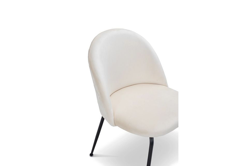 Capri Ivory Upholstered Side Chair W/ Black Legs