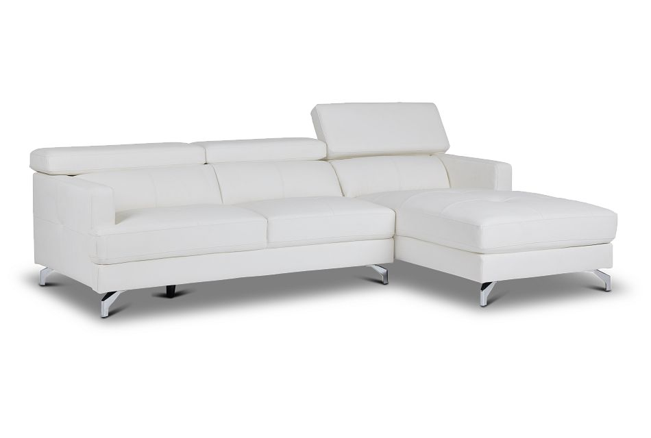 Marquez White Micro Right Chaise Sectional,  (3)