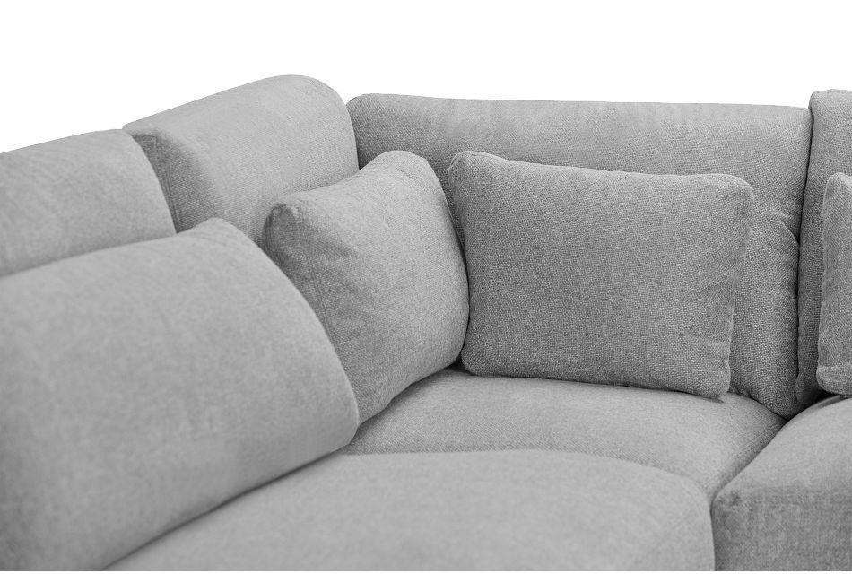 Cozumel Light Gray Fabric 5-piece Modular Sectional