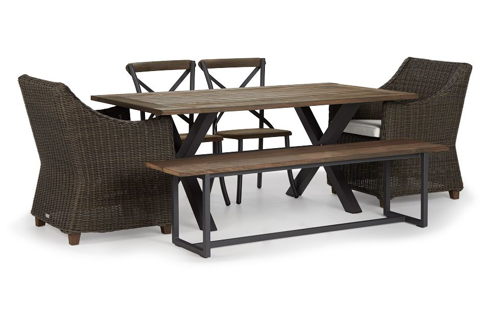 """Canyon Gray White 72"""" Rectangular Table & Mixed Chairs"""