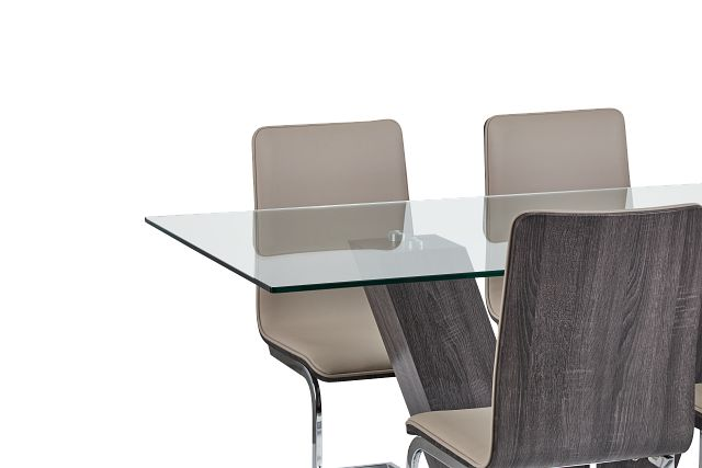 Kendall Dark Tone Rect Table & 4 Upholstered Chairs