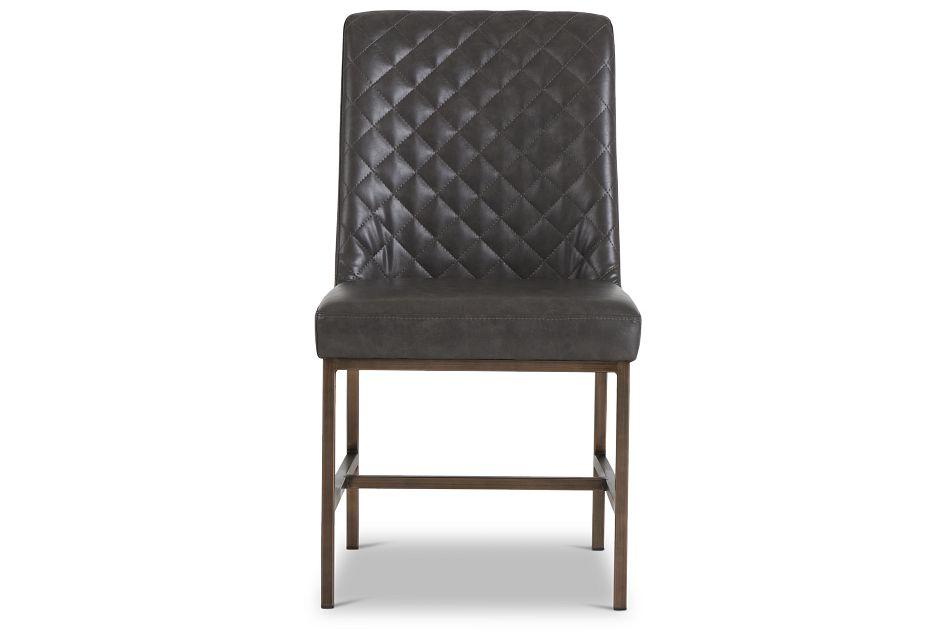 Sierra Dark Gray Bonded Ltr Side Chair,  (3)
