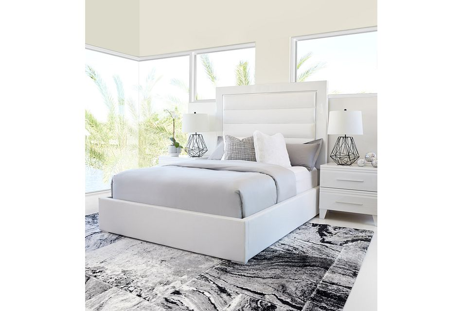 Midtown White Uph Platform Bed