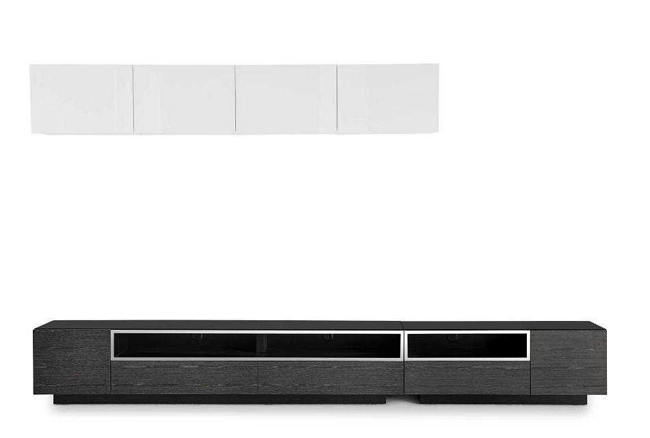 "Vancouver 134"" Dark Gray White 6-piece Left Modular Entertainment Wall"