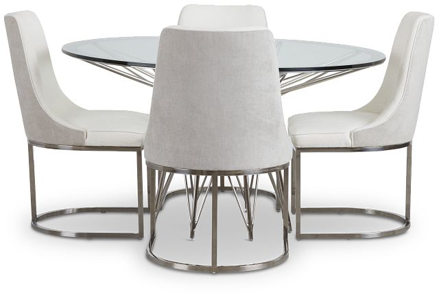 Cullen Glass Round Table & 4 White Upholstered Chairs