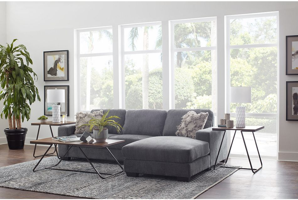 Estelle Dark Gray  FABRIC Right Chaise Sectional,  (2)