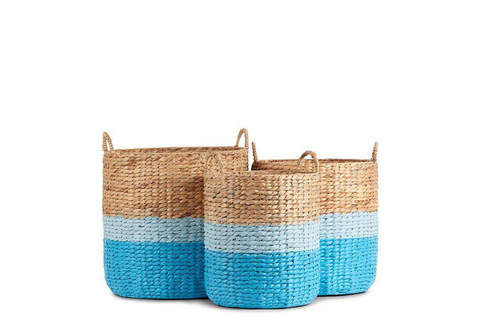 Bailey Set Of 3 Blue Basket,  (1)