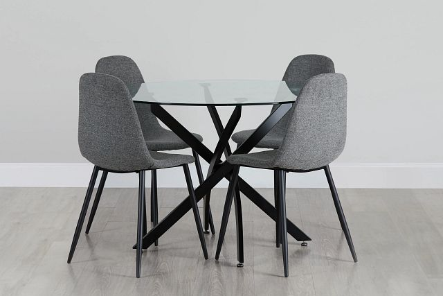 Havana Black Dk Gray Round Table & 4 Upholstered Chairs (0)