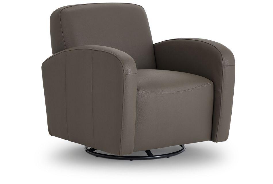 Axis Dark Gray Vinyl Swivel Accent Chair,  (1)