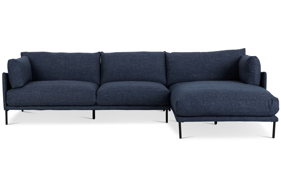 Oliver Dark Blue Fabric Right Chaise Sectional,  (3)