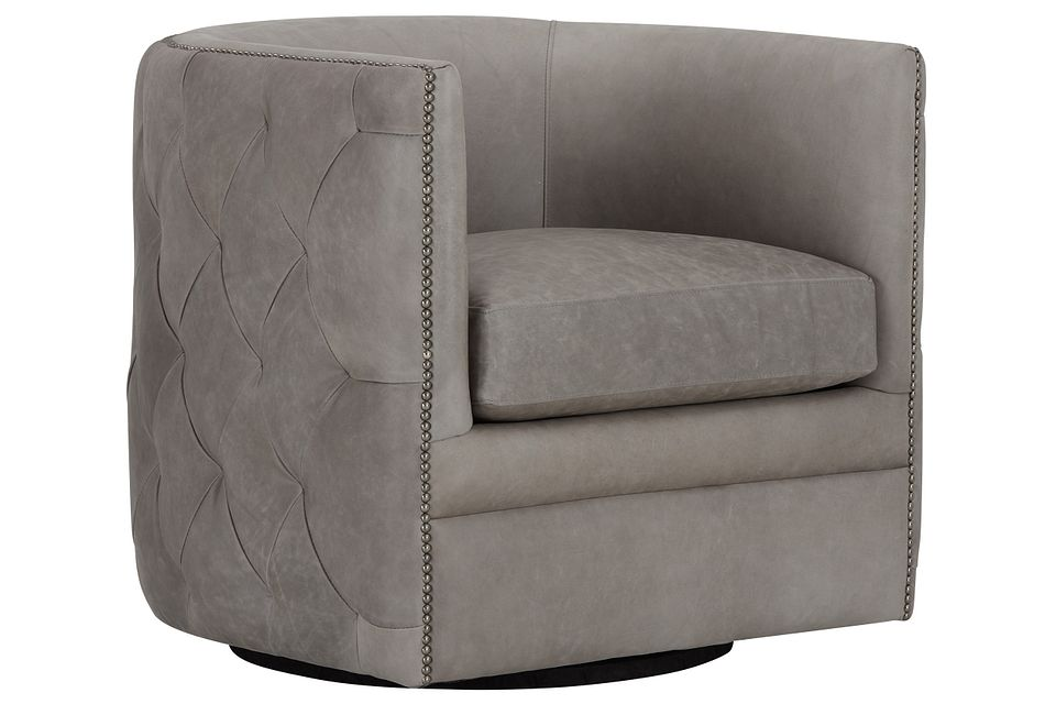 Palazzo Gray Leather Swivel Accent Chair