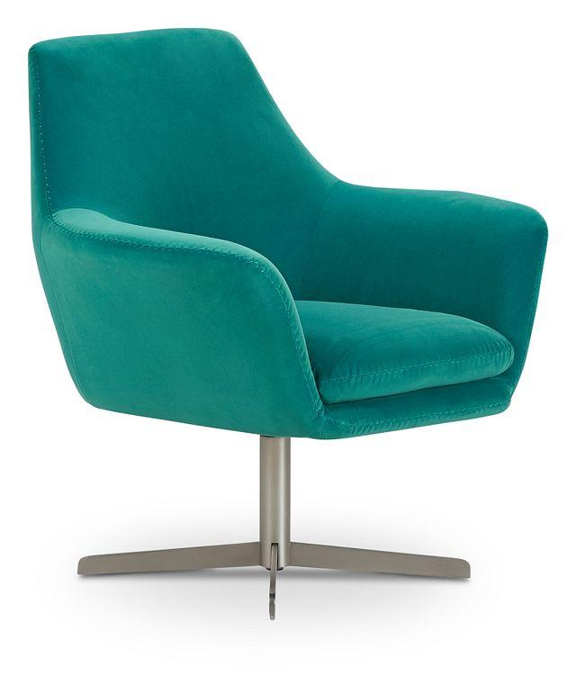 Xander Teal Velvet Swivel Accent Chair (1)