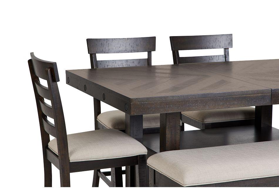 Colorado Dark Tone High Table, 4 Barstools & High Bench