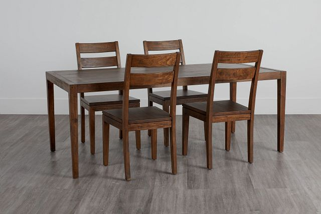 Chicago Dark Tone Rect Table & 4 Wood Chairs (1)