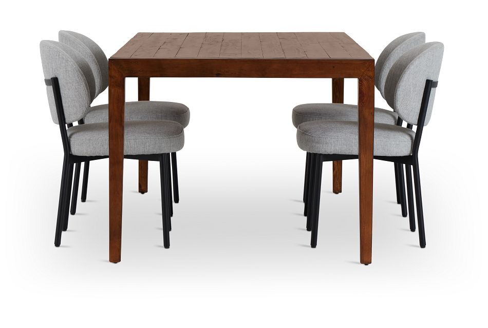 Chicago Dark Tone Rect Table & 4 Light Gray Upolstered Chairs,  (2)