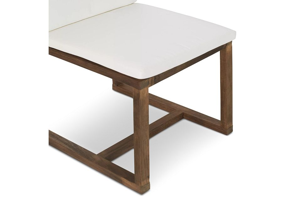 """Linear 70"""" White 70"""" Teak Table & 4 Cushioned Side Chairs"""